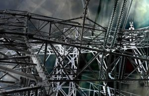 Two high tension electricity masts-collage